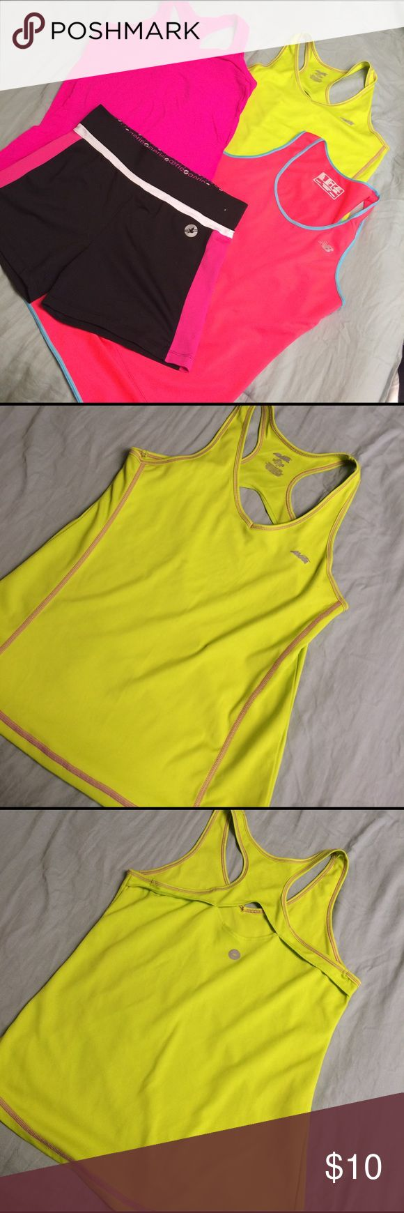Workout bundle Workout bundle. Used condition. Neon coral new balance is a small- great condition. Aerie spandex shorts are great used condition with a small paint spot at the band (pictured), medium. Avia neon yellow top with neat back, medium and used condition. Neon pink Jockey top was worn under a black fleece and has fleece on it. Washed but they clung on there. Used condition, medium. Tops