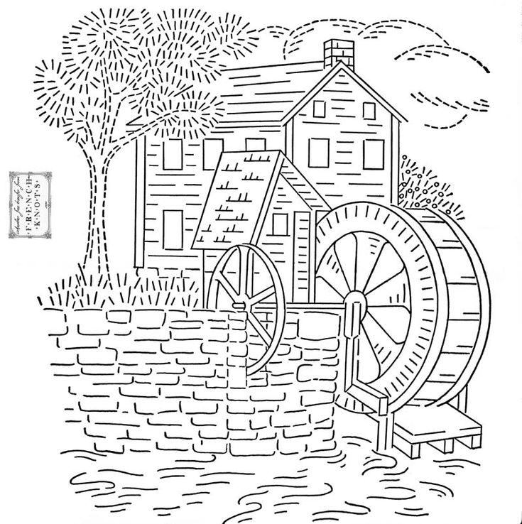 free Old Mill House Embroidery Transfer Pattern