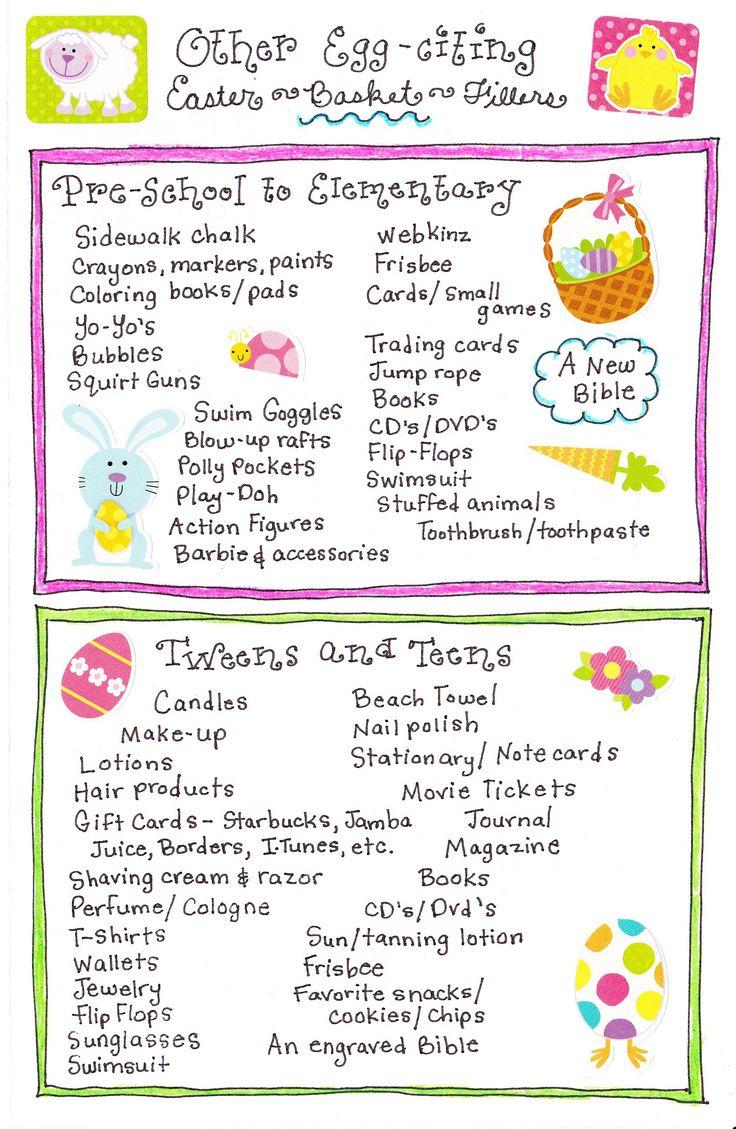 Easter Basket Ideas: Kids Easter Baskets, Fillers Ideas, Easter Traditional For Kids, Easter Baskets Fillers, Holidays Ideas, Teen Easter Baskets, Easter Baskets Ideas, Easterbasket, Easter Ideas