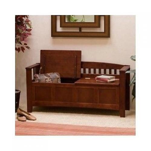Wooden Storage Bench Entryway Walnut Seat Chest Foyer Hallway Furniture Home New #LinonHomeDcor
