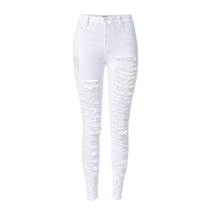 Women's High Waist Ripped Hollow Out Tight Pencil Jeans | 9th Wave