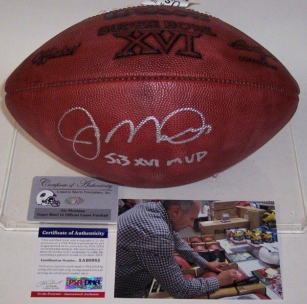Joe Montana - Autographed Official Wilson Super Bowl XVI NFL Football - PSA/DNA.