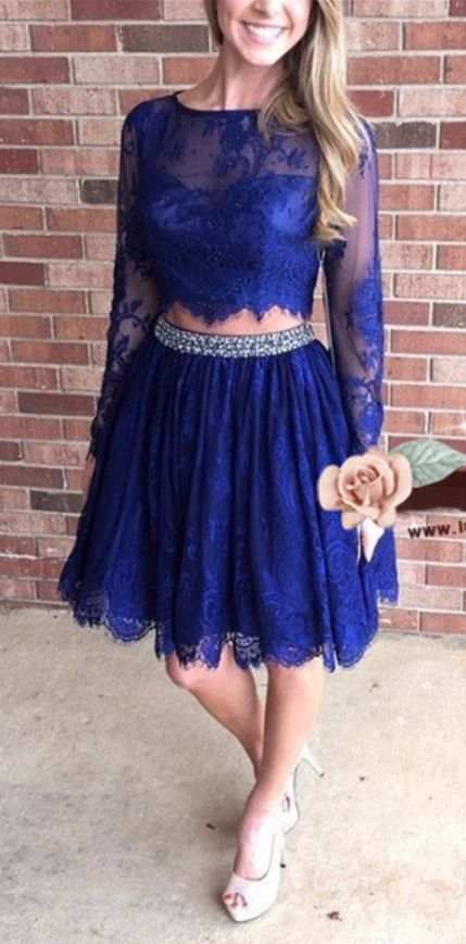 Two Pieces Homecoming Dresses, Long Sleeve Homecoming Dress,Knee Length Party Dresses,Lace Party Dress,,Blue Junior Homecoming Dress by comigodress, $136.59 USD