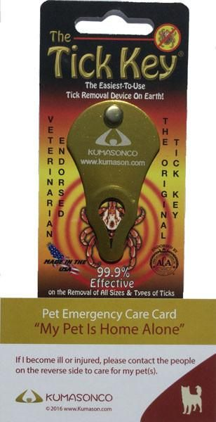 Two Pet Emergency Cards with Tick Removal Key Dog
