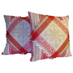 Turkey Red and Ticking Pillows