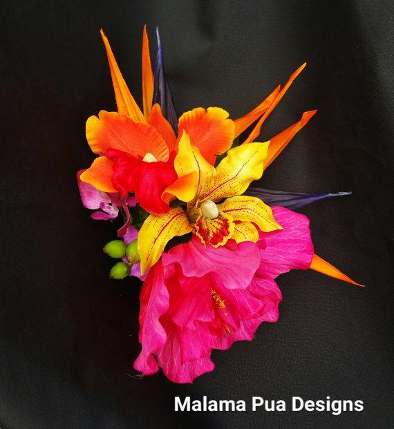 TROPICAL FLOWER HEADPIECE Hawaiian Orchids Bird of by MalamaPua