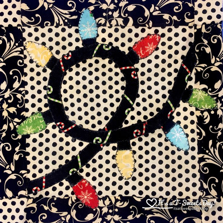 I Wish You a Merry Quilt Along Block 12.  Quilted Christmas Lights