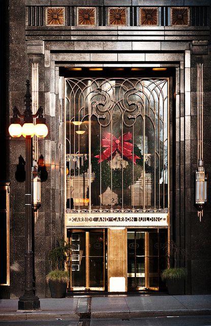 Carbide & Carbon Building (1929), entrance, 230 North Michigan Avenue, Chicago, Illinois by lumierefl, via Flickr