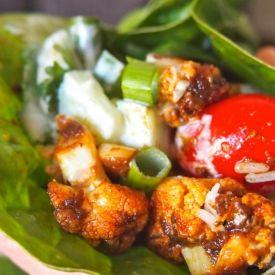 Vegan Mofo Tandoori Cauliflower & Cucumber Raita Wraps [Vegan Sparkles] eat365.com.au