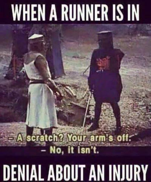 Running Humor #188: When a runner is in denial about an injury.