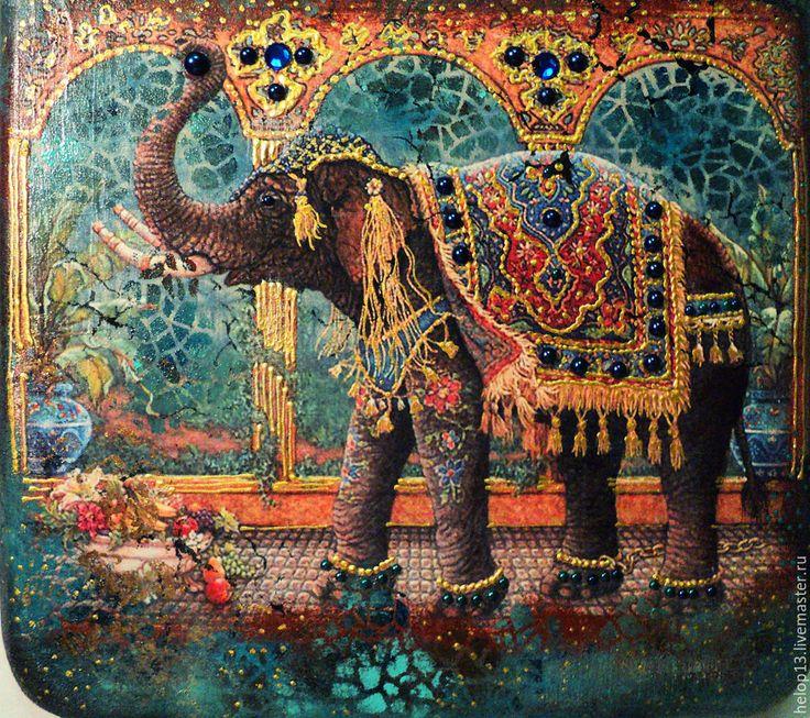 """Купить Декоративное панно""""INDIА"""" - комбинированный, декоративное панно, картина, панно, слон, индийский слон, индия"""