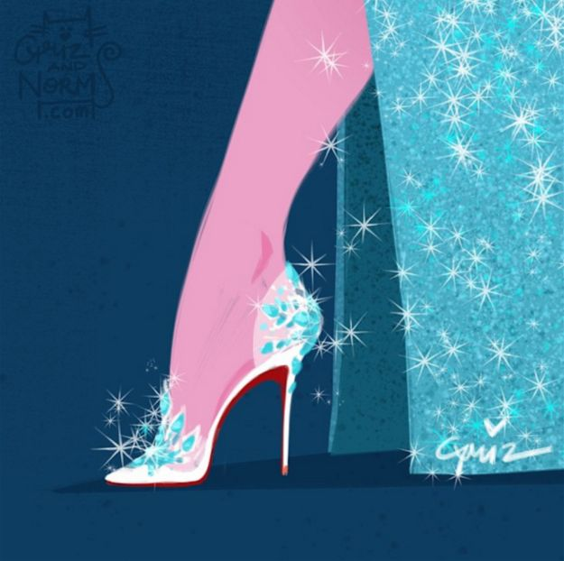 Elsa's shoes with all of Christian Louboutin's glamour. | These Designers Re-Invented Disney Princesses' Shoes And They Are Amazing