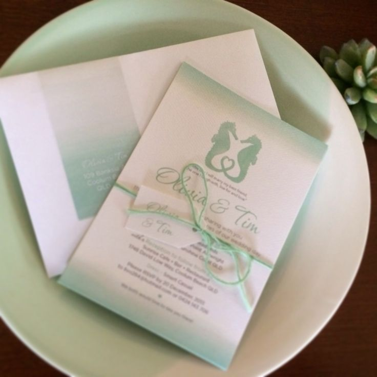 Washed watercolour Seahorse Wedding Invitations ombre seahorses