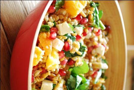 » Salade de petit épeautre à la grenade, aux agrumes, aux pignons et à la feta | Clea cuisine
