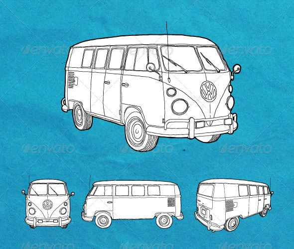 Hand_Drawn Old Volkswagen Transporter - GraphicRiver Item for Sale