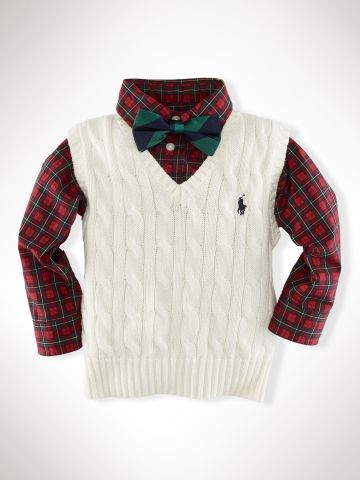 Classic christmas outfit...Classic Cable Vest - Infant Boys Sweaters - RalphLauren.com  16 дол размер 12 мес