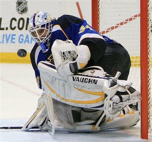 goaltender Jake Allen stops a shot by the Anaheim Ducks in the second period. The Blues won the game 2-1 in OT. 3-16-13