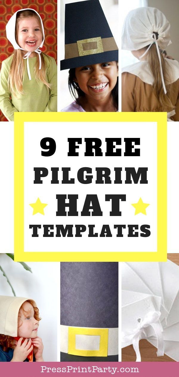 9 free pilgrim hat and bonnet templates i searched the web and found 9 excellent diys on how to make a paper or fabric thanksgiving pilgrim hat
