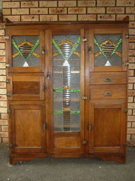 Old Kitchen Dresser/Cabinet with Leadlight Doors & Cool ...
