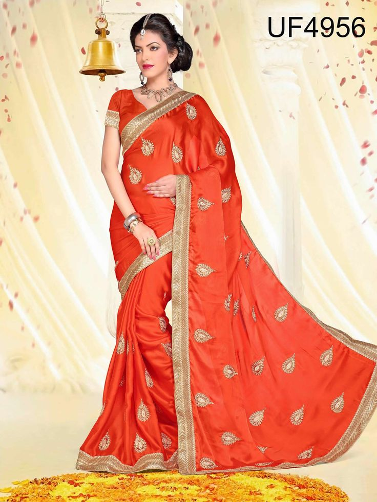 buy saree online Orange Colour Foux Georgette Zari Work Party Wear Saree Buy Saree online UK  - Buy Sarees online