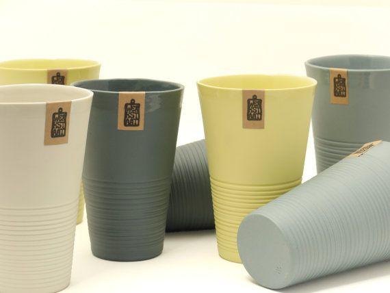 Minimalistic ripped porcelain mug modern mug XL mug by WerkStaat