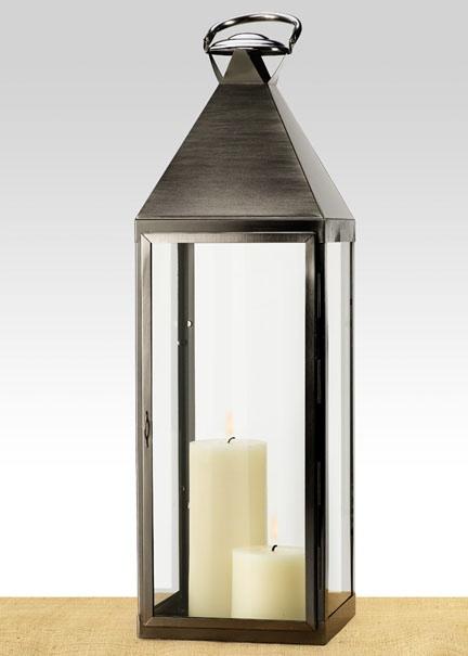 29in Matte Pewter Metal Square Lantern | Jamali Floral U0026 Garden Supplies