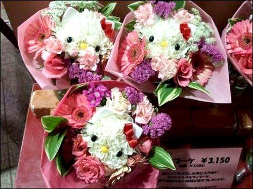 Hello Kitty flower bouquets #HelloKitty #Flowers #Japan: Sea Shells, Flower Bouquets, Cute Ideas, Hk Flower, Hello Putty, Kitty Bouquets, Hello Kitty, Bridesmaid Bouquets, Kitty Flower