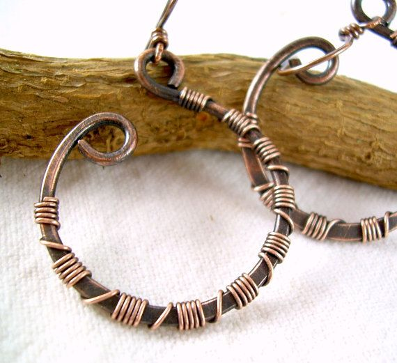 Copper Hoop Earrings Wire Wrapped Jewelry by KiawahCollection, $20.00