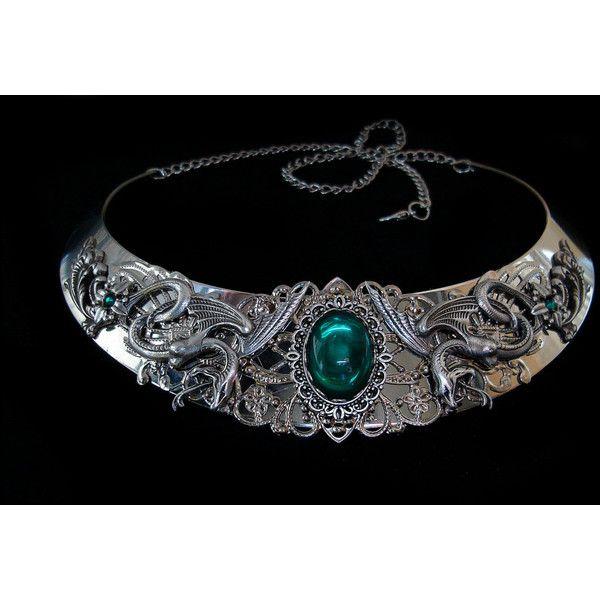 Snake Necklace Salazar Slytherin Salazar Harry Potter Severus Snape... ($93) ❤ liked on Polyvore featuring jewelry, necklaces, green silver necklace, silver jewelry, silver snake necklace, emerald jewellery and snake jewelry