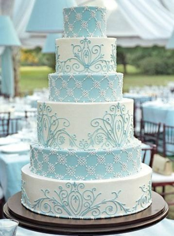 Beautiful light blue and white cake. The piping is great!