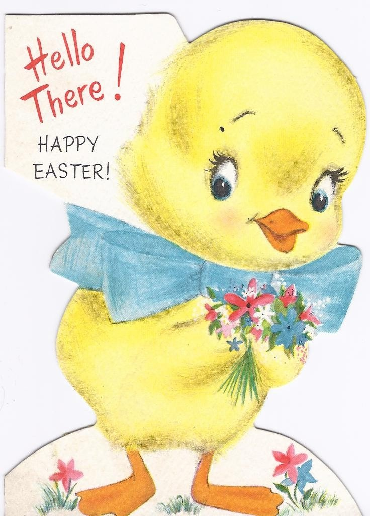 E50 Vintage used  Easter Greeting Card Chick Die Cut