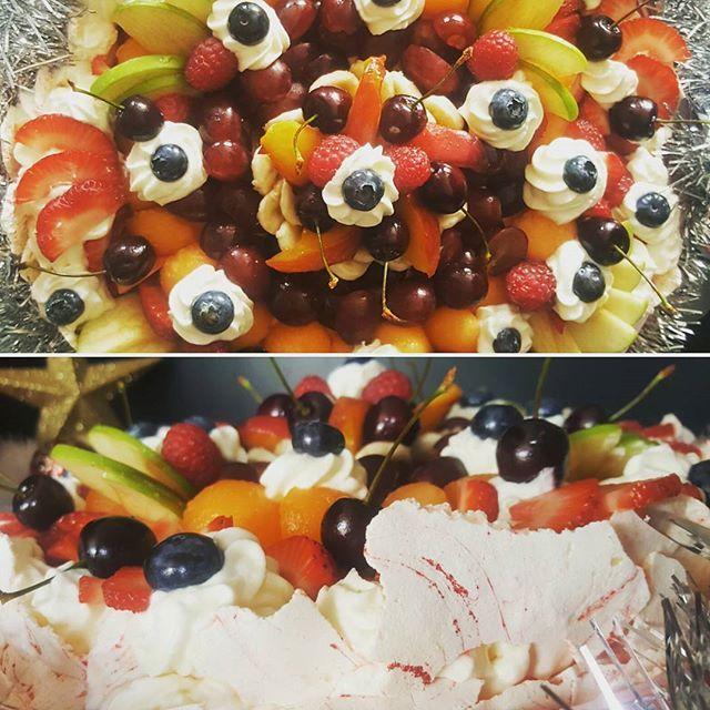 #merrychristmas #pavlova #firstpavlova #aussie or #nz #bigdebate #saffroncustard #cream #cherries #strawberries #blueberries #apple #banana #apricot #grapes #peach #southwestfood #busselton #dunsborough #margaretriver