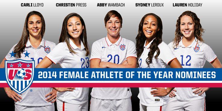 The finalists for U.S. Soccer's 2014 Female Athlete of the Year: Carli Lloyd, Christen Press, Abby Wambach, Sydney Leroux, Lauren Holiday. Holiday won. (U.S. Soccer)