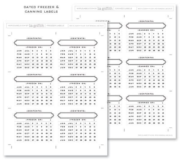 Free printable editable Freezer Date Labels.