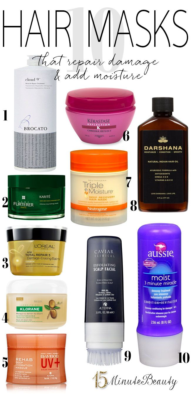 The best hair masks! Perfect for when your hair is dry and has turned to straw, you've fried it beyond hope with your flat iron or you want to protect your expensive new hair color. I need to keep a few of these in my bathroom for emergencies! via @15minbeauty