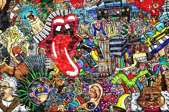 Removable Wallpaper Mural Peel Stick Self Adhesive Wallpaper Etsy Graffiti Wall Art Graffiti Music Collage