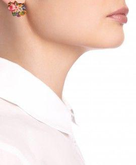 Decoupage Flower Earrings