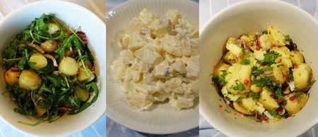 FRANSK, KLASSISK OG HOT: Lærer du deg disse tre oppskriftene kan du lage potetsalat som passer til de aller fleste grillretter.  (Foto: ELISABETH DALSEG)