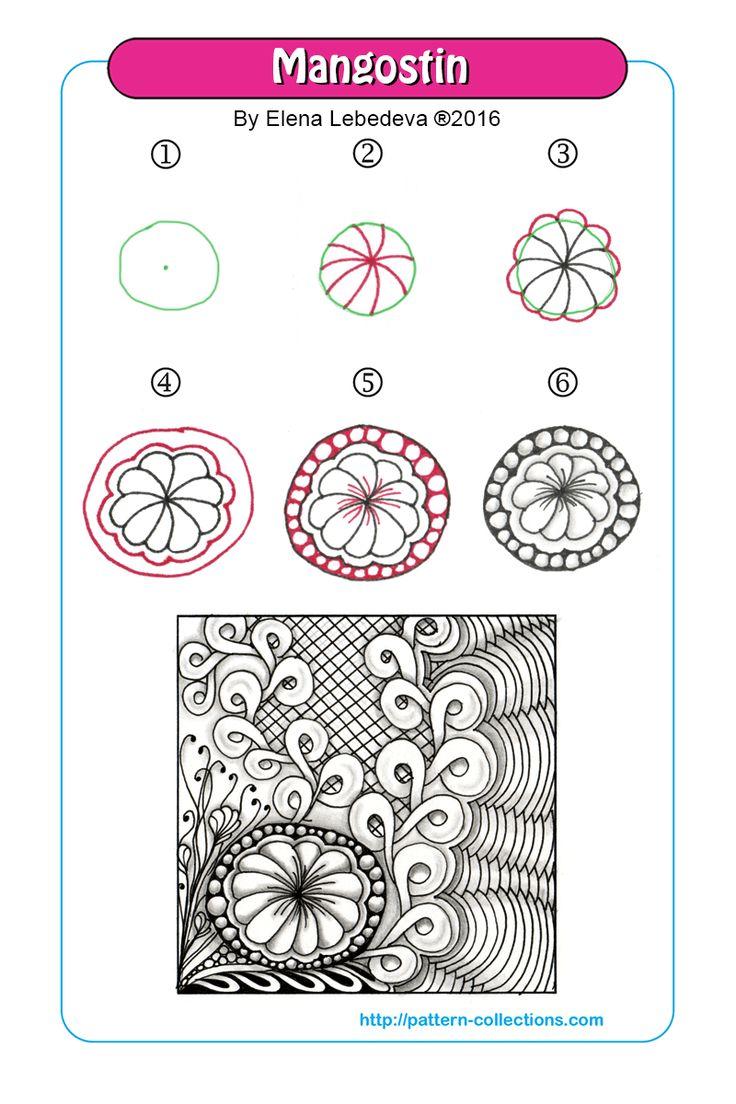 Mangostin tangle pattern  by Elena Lebedeva  PatternCollections.com