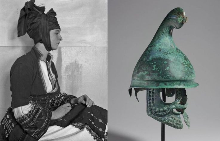 The centrepiece of the costume from Rumlouki is the Katsouli. Reminiscent of a Phrygian helmet, it has been passed down for  generations.