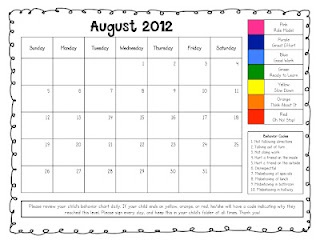 Free printable calendars to communicate clip chart behavior -  I like the idea of tracking this daily, perhaps on a classroom list (for most kids) and on a calendar for students will behavioural goals.
