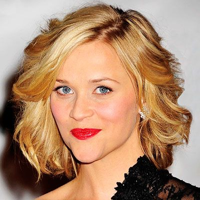 """Bobs  THE LOOK Layered, wavy bob HOW-TO Blow-dry hair with a medium-size round brush. When dry, use a one-and-a-half-inch curling iron to vertically curl sections of hair around the entire head. Rake fingers through the curls to get Reese's perky wave.INSIDER TRICK """"This works best on hair that hits at chin-level, has long layers and lots of soft wave,"""" says stylist Jim Wayne."""