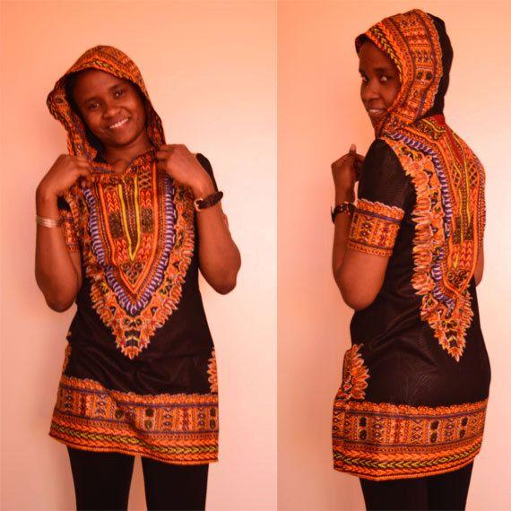 African print blouse Zizi dashiki hoodie top in by SobaClothing