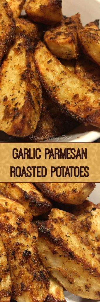 Garlic Parmesan Roasted Potatoes - is such an easy recipe for baked garlic parmesan potato wedges. It will blow you away with its garlicy and parmesan flavor! We are huge potato lovers in my family. I don't think we have ever had a potato we haven't liked. #potatoes #comfort food #delicious #cheesy #easy