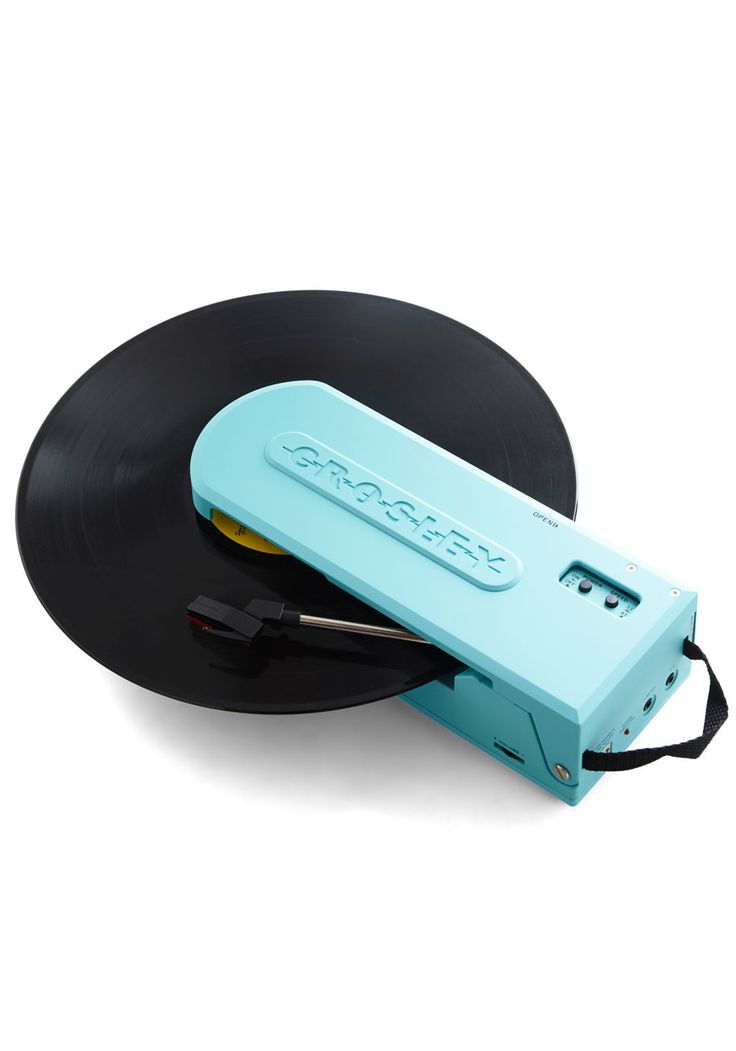 Vinyl Frontier Portable Turntable. Embark on a technological journey through time with this unique portable turntable! #blue #modcloth