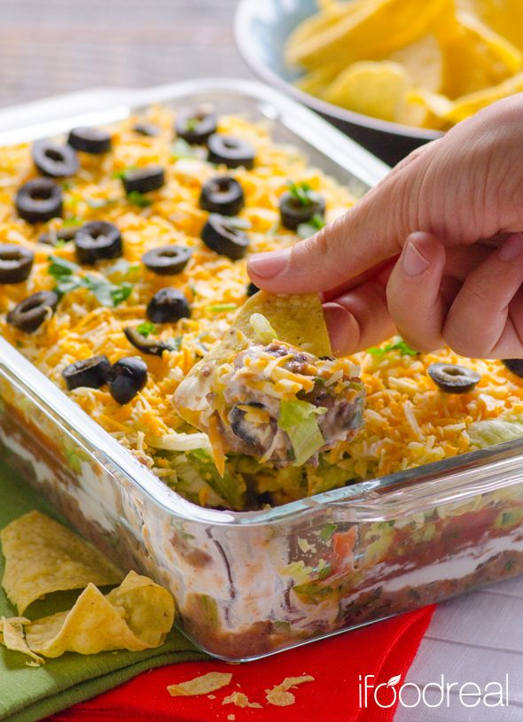 Skinny 7 Layer Dip - All time favourite Clean Tex Mex Dip made with black beans salsa, Greek yogurt and low fat cheese. Low in sodium and fat as much as this type of appetizer could be. Great for serving a large crowd.
