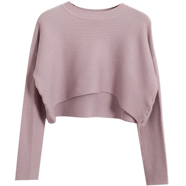 Chicnova Fashion Pure Color Round Neck Knitwear found on Polyvore featuring tops, sweaters, shirts, crop tops, knit shirt, purple crop top, crop top, purple top and knit crop top