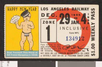 Los Angeles Railway weekly pass, 1935-12-29 :: LA as Subject