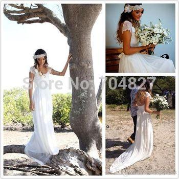 Vestidos De Novia 2014 robes De mariée qui coule plage Style bohème manches courtes en mousseline De soie Boho dentelle Backless perles robe De mariée WW