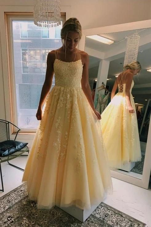 Feb 18, 2020 - Princess A Line Yellow Tulle Straps Prom Dresses with Lace Appliques – Mmocu